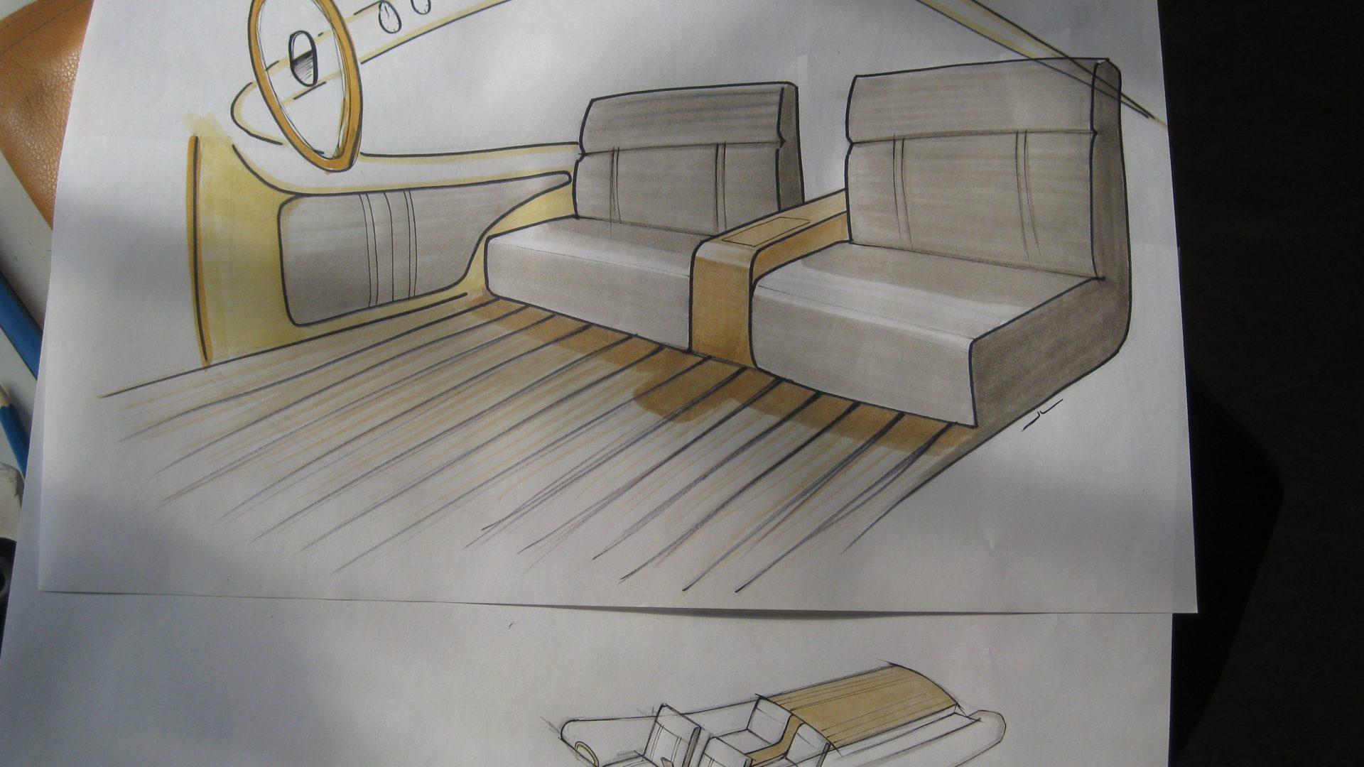 Design/Entwurf der Innenausstattung für ein Boot von FELLERyachting, handgezeichnet.