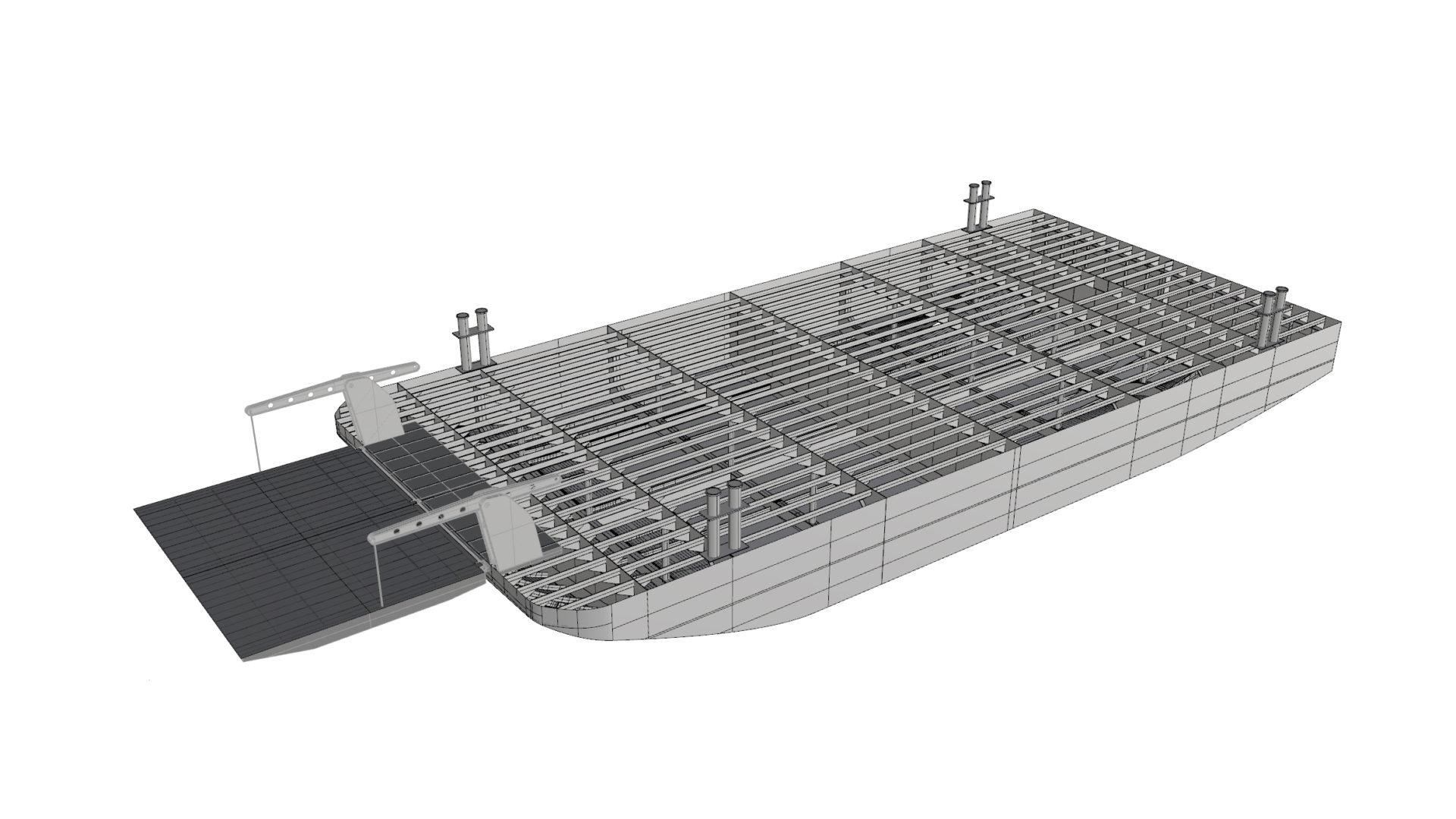 CAD-Modell eines Fährschiffes.