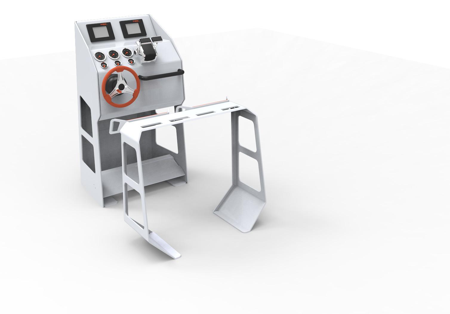 Gerendertes Design eines Fahrstands aus Aluminium.
